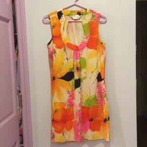 Trina Turk Bright Orange Pink Floral Dress